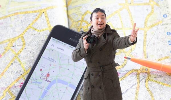 男一人旅 会話 地図
